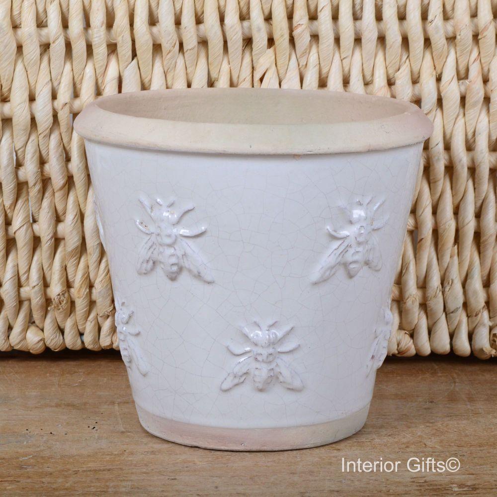 Rustic Bee Embossed Plant Pot Handmade in Chalk