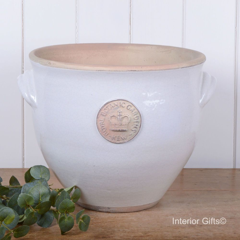 Kew Provencal Pot with Handles Bone White - Royal Botanic Gardens Plant Pot