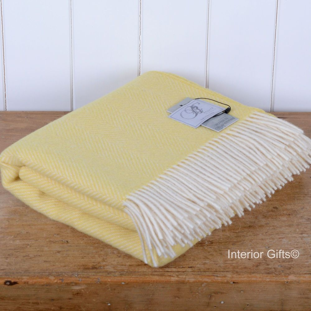 BRONTE by Moon Bright Lemon Yellow Herringbone Throw in 100% Pure New Wool