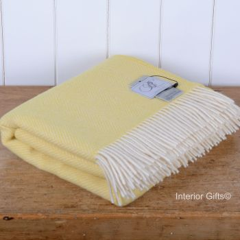 BRONTE by Moon Lemon Yellow Herringbone Throw in 100% Pure New Wool