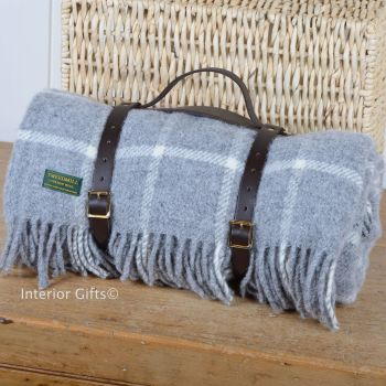 WATERPROOF Backed Wool Picnic Rug / Blanket in Classic Grey Check with Leather Carry Strap