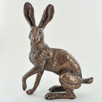 Alert Sitting Hare Cold Cast Bronze Sculpture by Harriet Glen