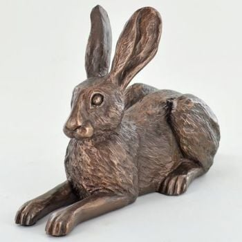Alert Lying Hare Cold Cast Bronze Sculpture by Harriet Glen