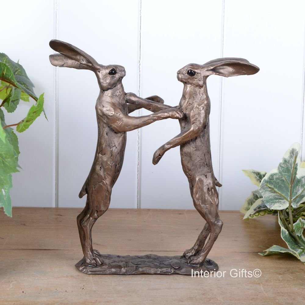 Howard & Hilda Pair Boxing Hares Frith Bronze Sculpture by Paul Jenkins