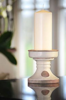 KEW Royal Botanic Gardens Candle Holder in Bone - Small