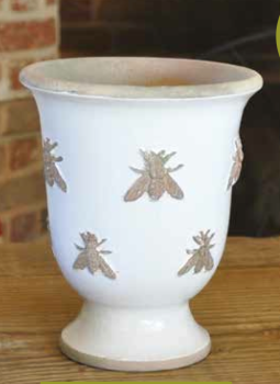 Rustic Bee Embossed Footed Pot Handmade in Antique/Chalk