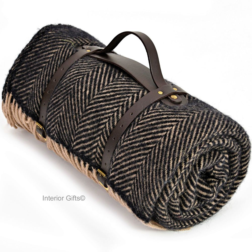 WATERPROOF Backed Wool Picnic Rug / Blanket in Charcoal Black & Beige Herri