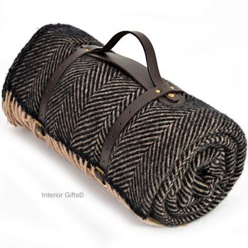 WATERPROOF Backed Wool Picnic Rug / Blanket in Herringbone Charcoal Black & Beige with Carry Strap