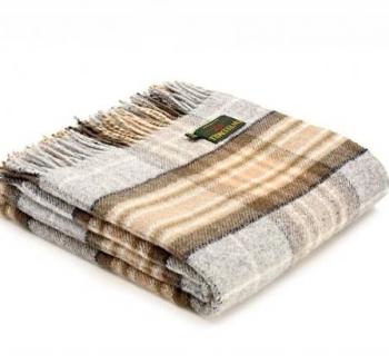 Tweedmill Silver Grey & Beige Check Picnic / Throw / Travel Rug / Blanket