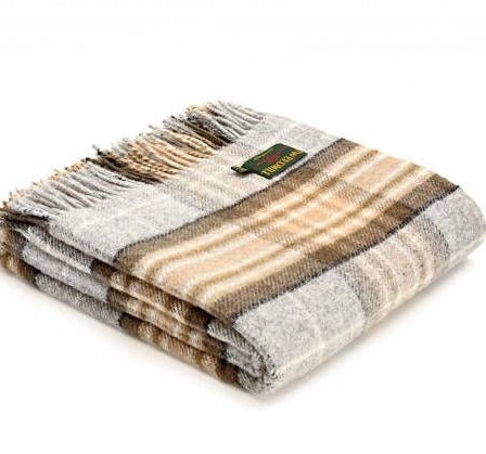 Tweedmill Silver Grey & Beige Check Picnic / Throw / Travel Rug / Blanket