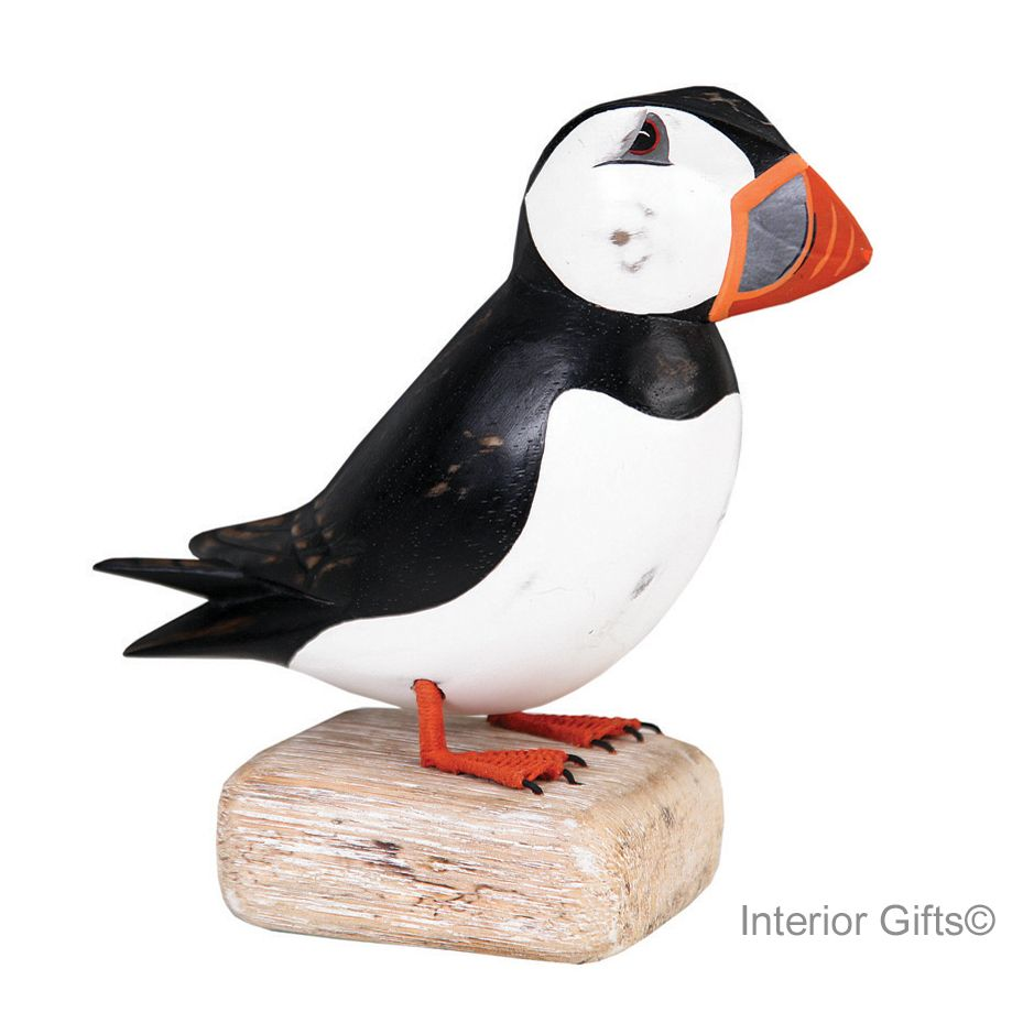 Archipelago Puffin Straight Large Bird Wood Carving