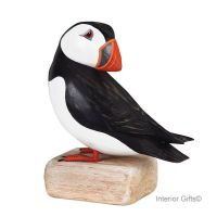 Archipelago Puffin Preening Large Bird Wood Carving