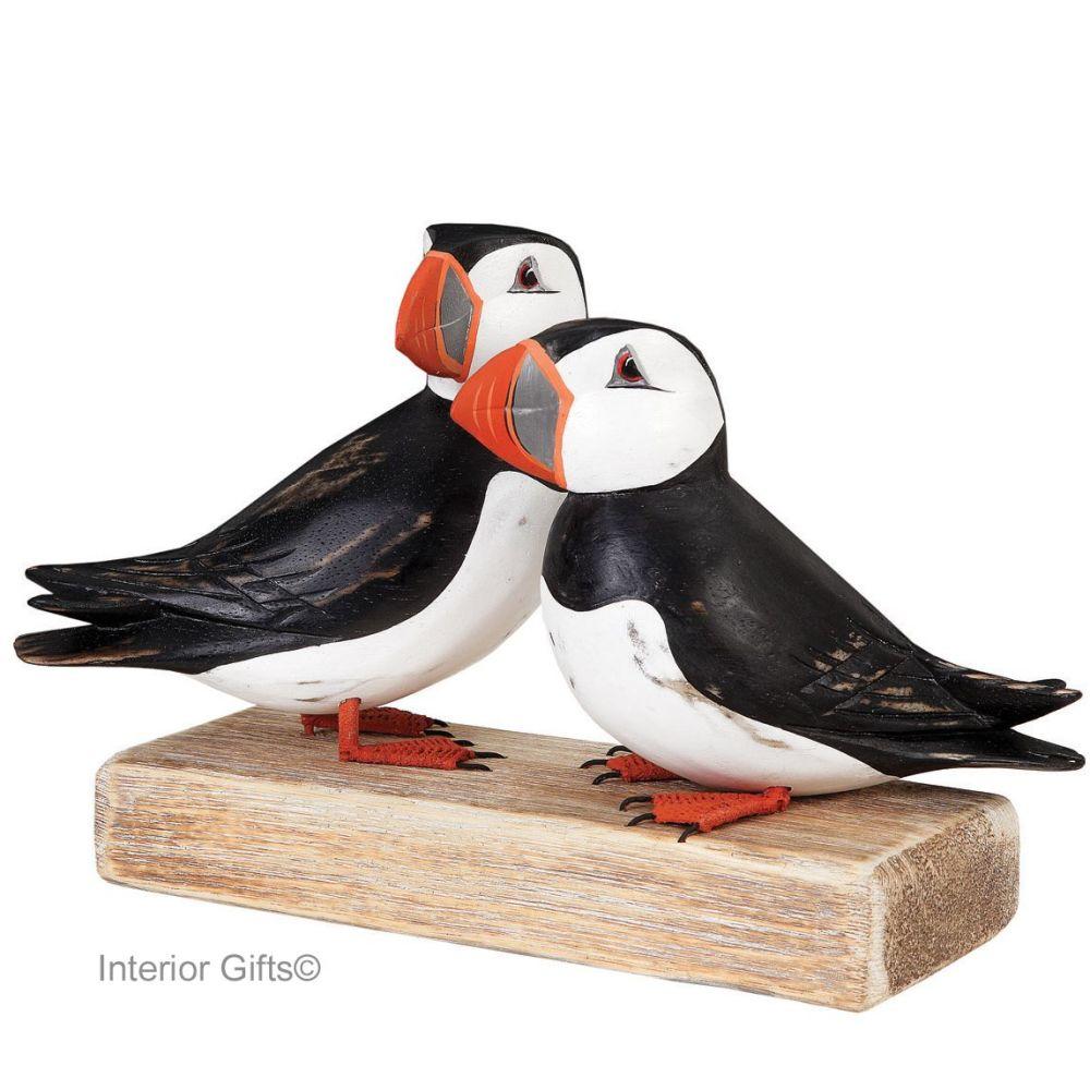 Archipelago Puffin Block Large Bird Wood Carving