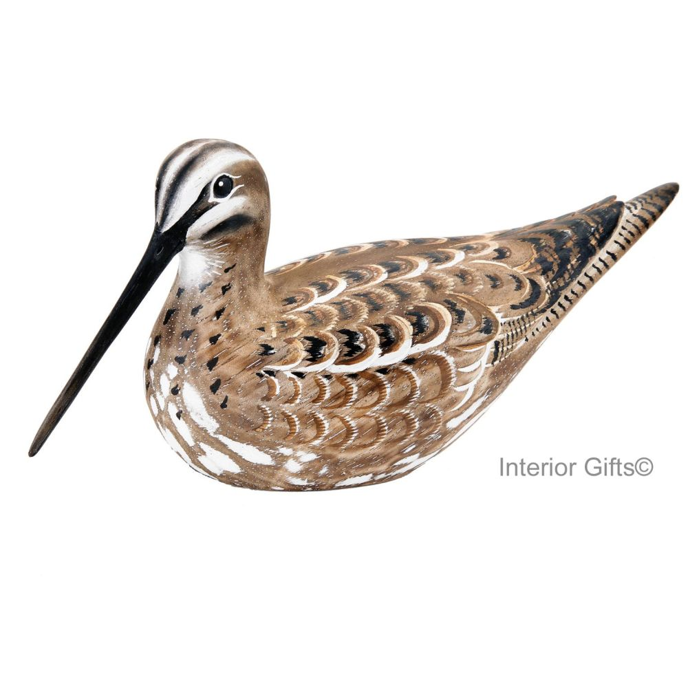 Archipelago Snipe Sitting Bird Wood Carving