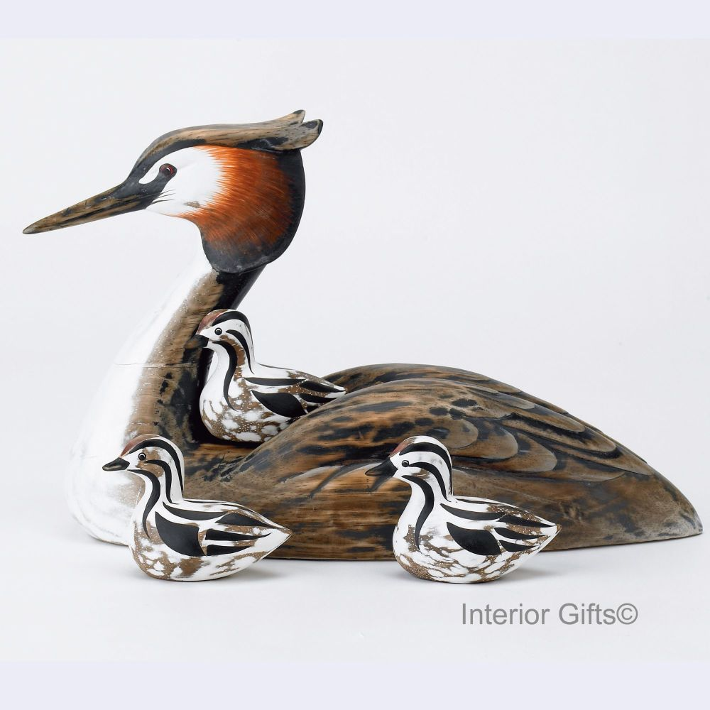 Archipelago Grebe & 3 Chicks Bird Wood Carving