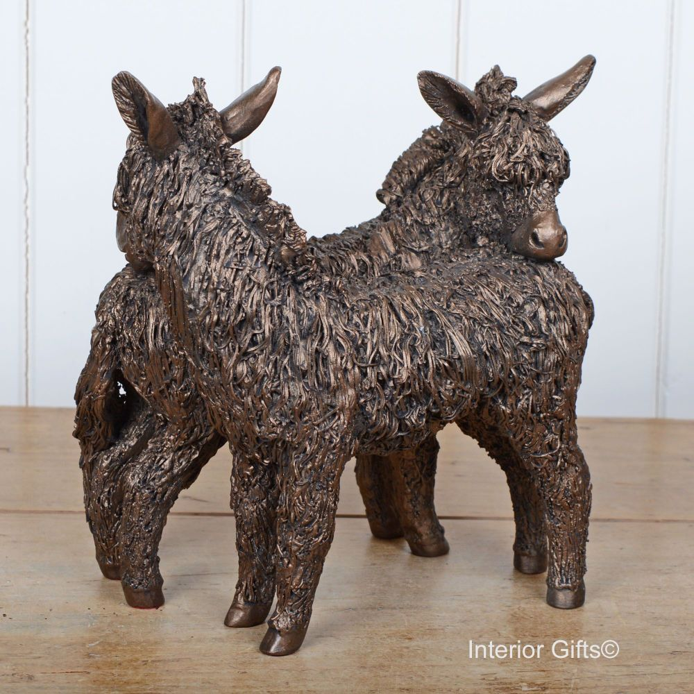 FRIENDLY DONKEYS Grooming / Standing Frith Bronze Sculpture by Veronica Bal