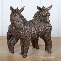 FRIENDLY DONKEYS Grooming / Standing Frith Bronze Sculpture by Veronica Ballan