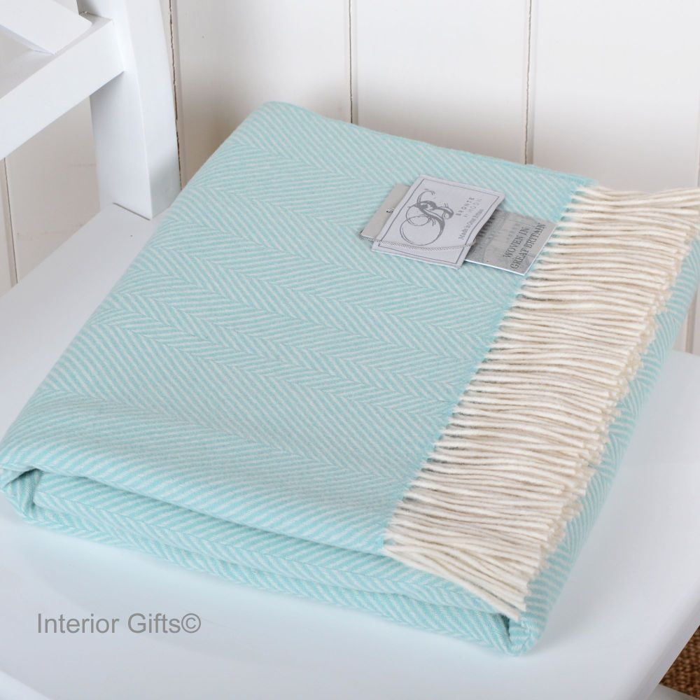 BRONTE by Moon Light Blue & Cream Herringbone Throw in Supersoft Merino Lam