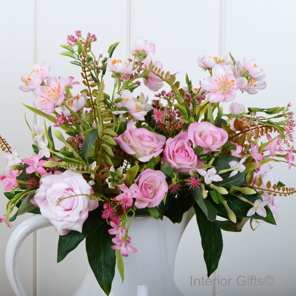 Faux Silk Rose & Blossom Informal English Garden Bouquet - Pink