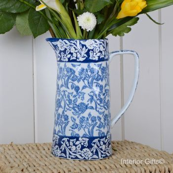 Ceramic Wildflower Indigo Jug - Drinks or Flower Vase 25 cm H