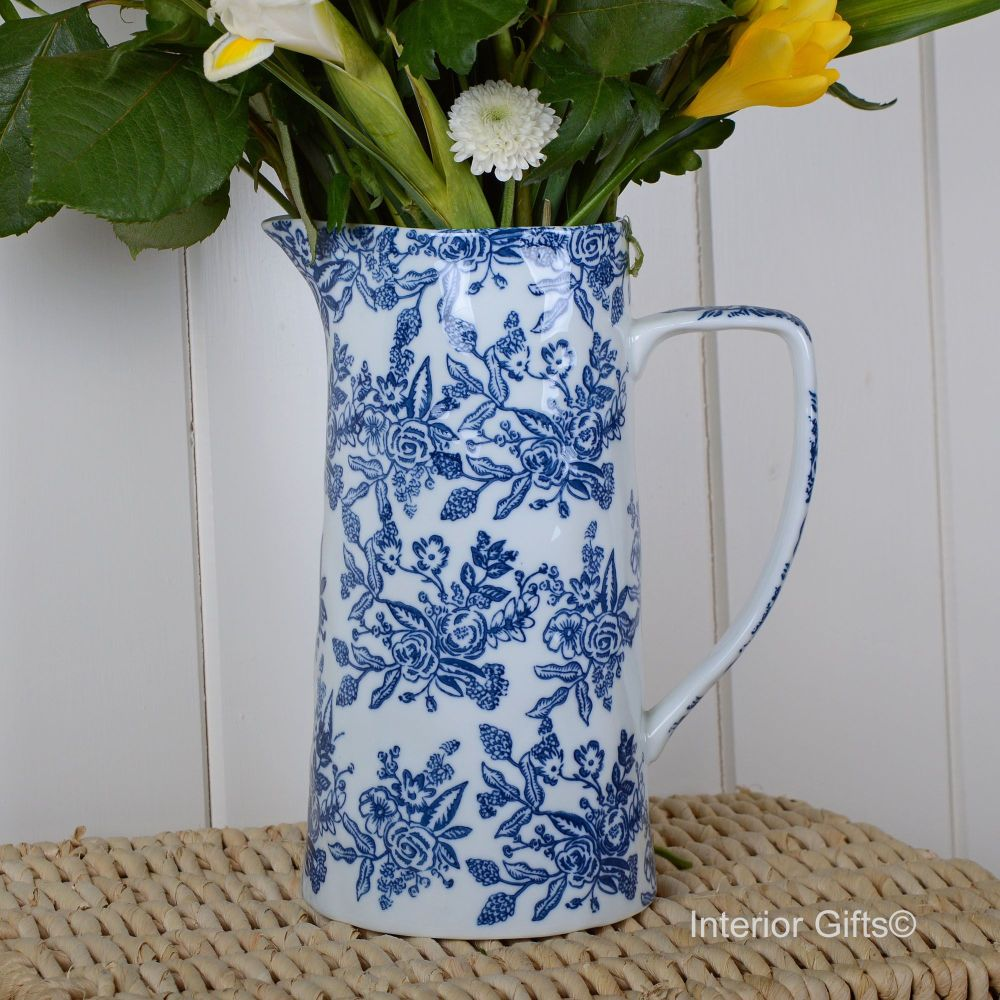 Wildflower Blue & White Jug - Drinks or Flower Vase 25 cm H