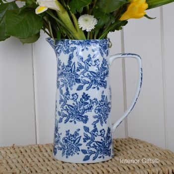 Ceramic Wildflower Blue & White Jug - Drinks or Flower Vase 25 cm H
