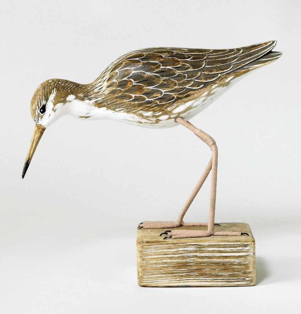 Archipelago Ruff Feeding, Bird Wood Carving