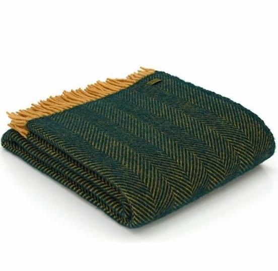 Tweedmill Emerald Green and Deep Lemon Herringbone Pure New Wool Throw Blan