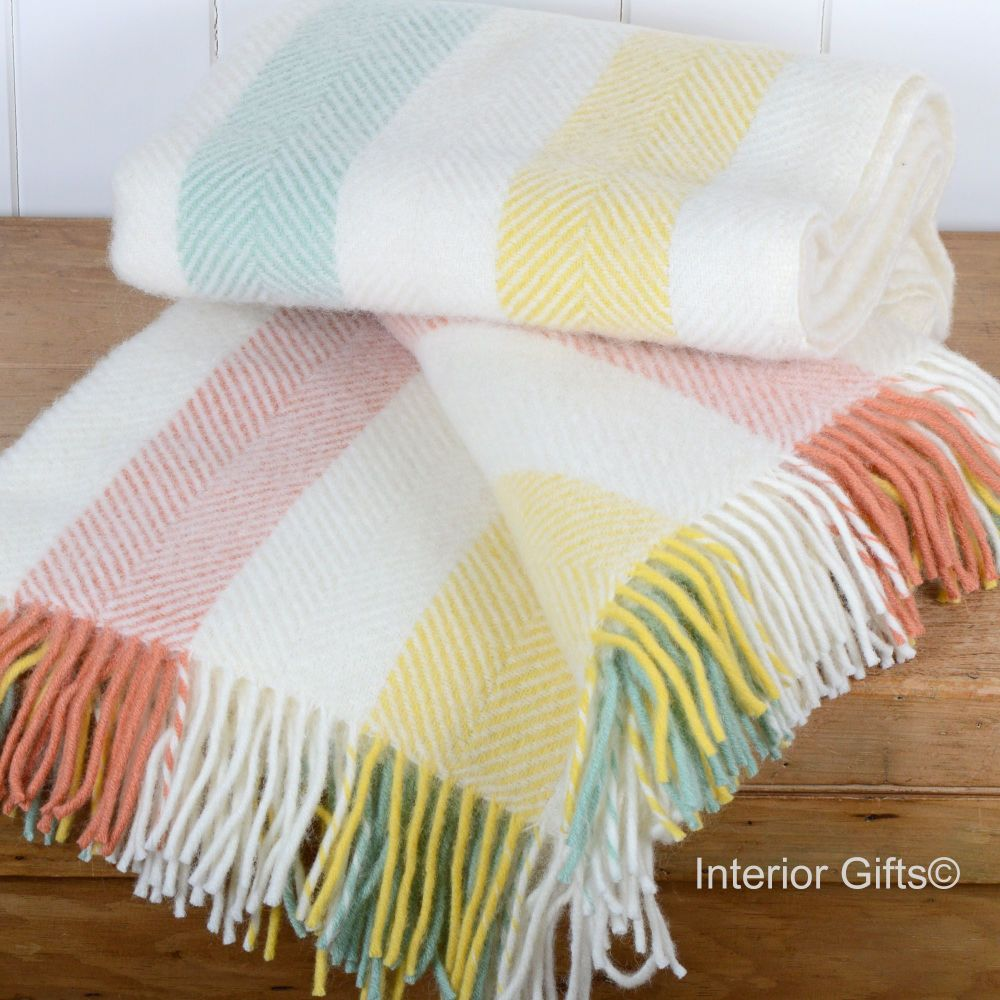 Tweedmill Herringbone Stripe Summer Cream Pure New Wool Throw Blanket