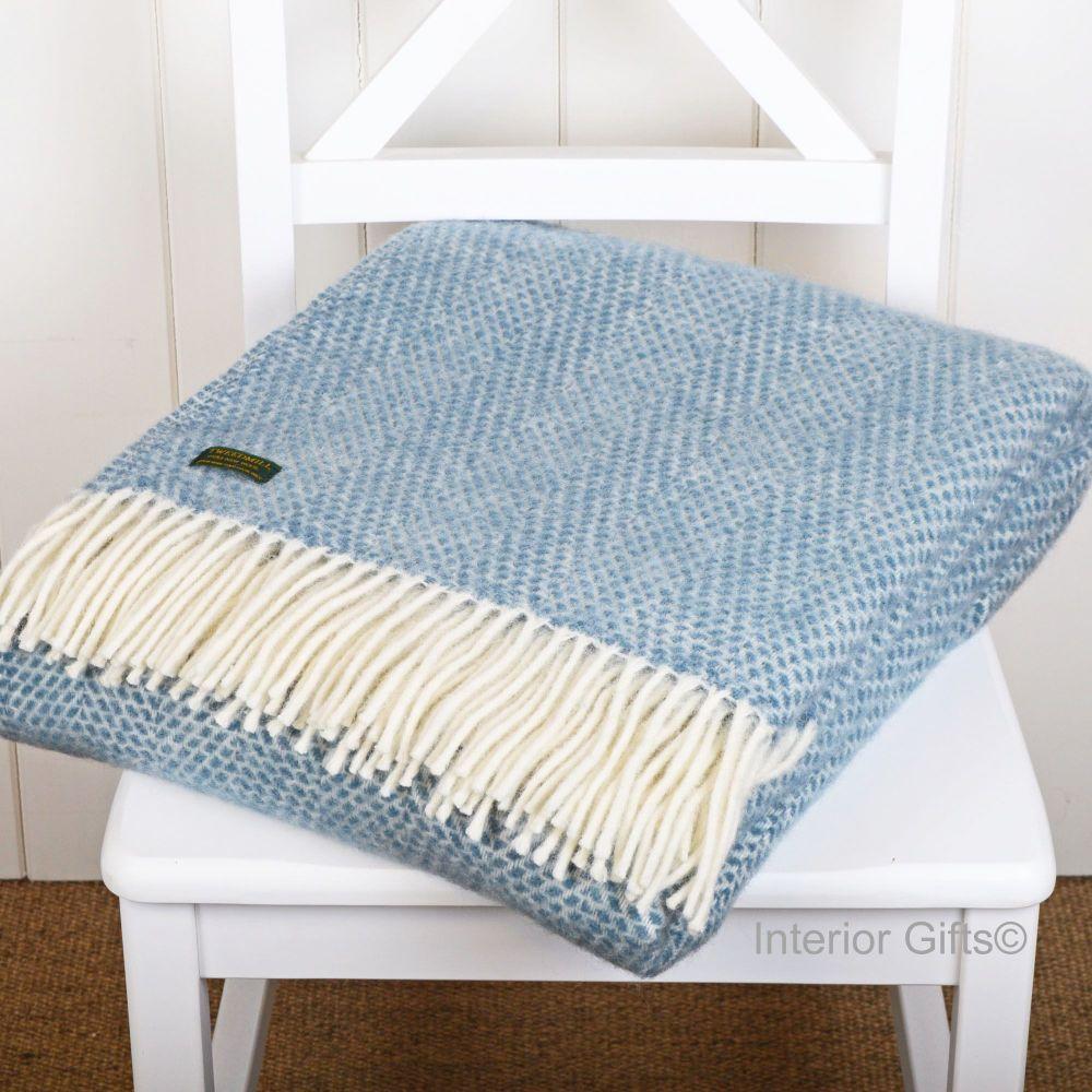 Tweedmill Lagoon Blue Honeycomb Weave Pure New Wool Throw Blanket