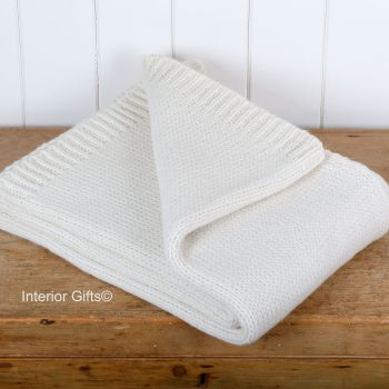 Tweedmill Knitted Soft Alpaca Mix Throw in Cream
