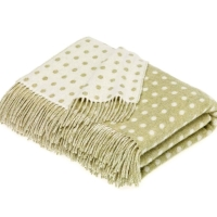 BRONTE by Moon Light Green & Cream Classic Spot Throw in Supersoft Merino Lambswool