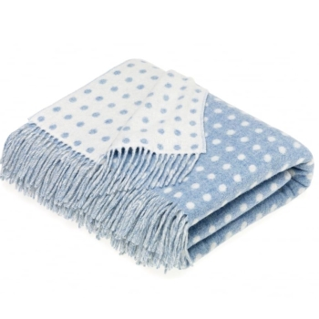 BRONTE by Moon Light Blue & Cream Classic Spot Throw in Supersoft Merino Lambswool