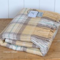 BRONTE by Moon Honey Beige Skye Check Throw in 100% Pure New Wool