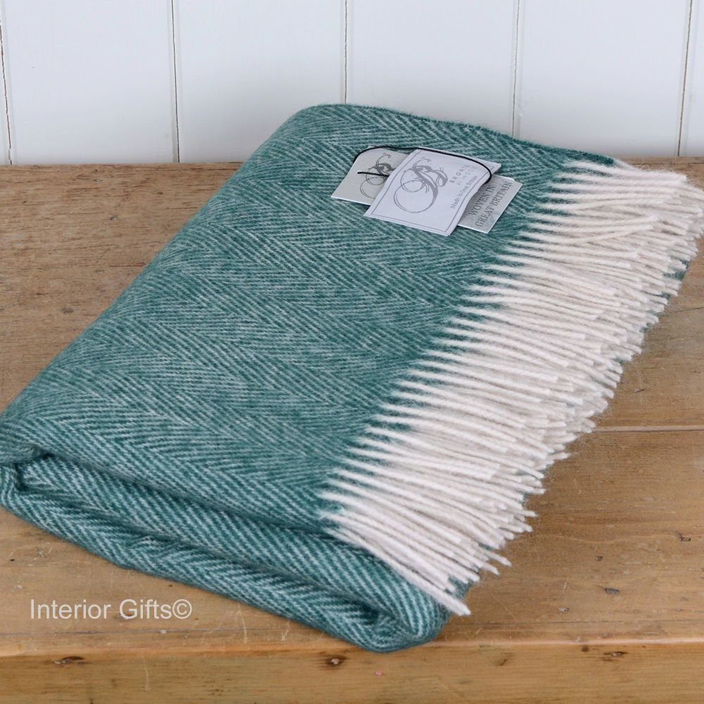 BRONTE by Moon Forest Green Herringbone Throw in 100% Pure New Wool