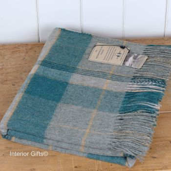 BRONTE by Moon Forest Green/Grey Check Throw in Merino Lambswool