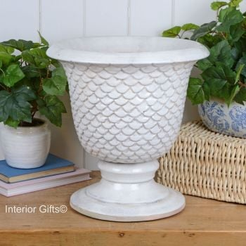 Large Rustic Neptune Urn in Old White