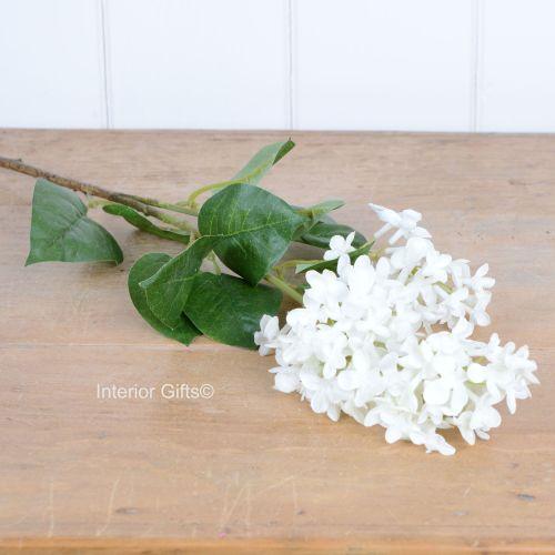 Faux Silk Lilac Stem in White