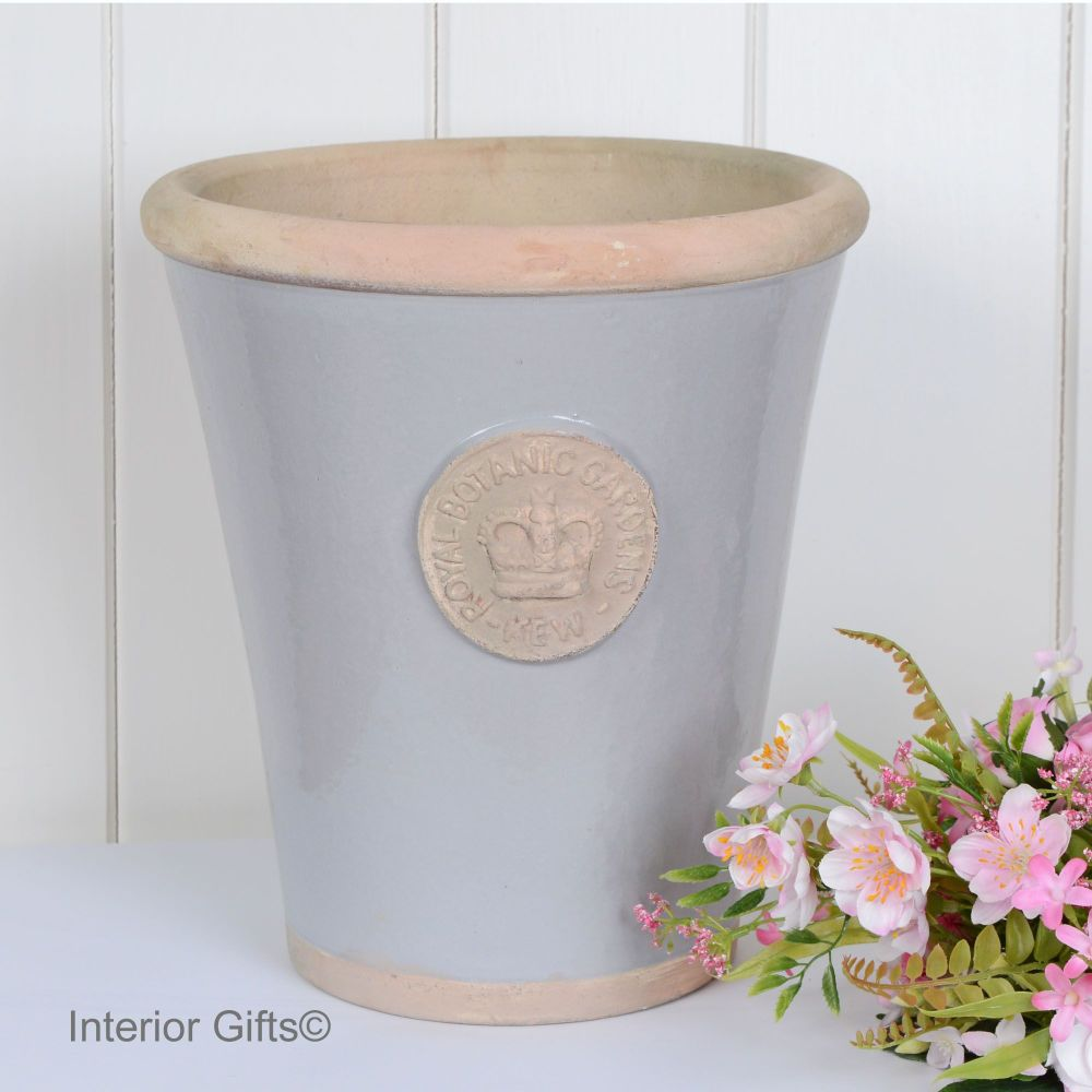 Kew Long Tom Pot in Light Grey - Royal Botanic Gardens Plant Pot - Large