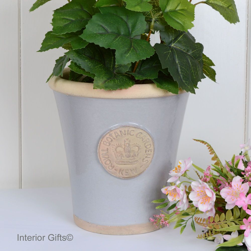 Kew Long Tom Pot in Light Grey - Royal Botanic Gardens Plant Pot - Medium