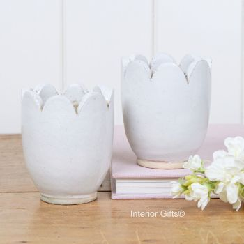 Mini Snowdrop Pots in Old White - Small Pottery Vases