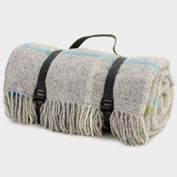 WATERPROOF Backed Wool Picnic Rug / Blanket in Windowpane Grey Check with Practical Carry Strap