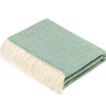 BRONTE by Moon Parquet Eucalyptus Green Throw in Supersoft Merino Lambswool