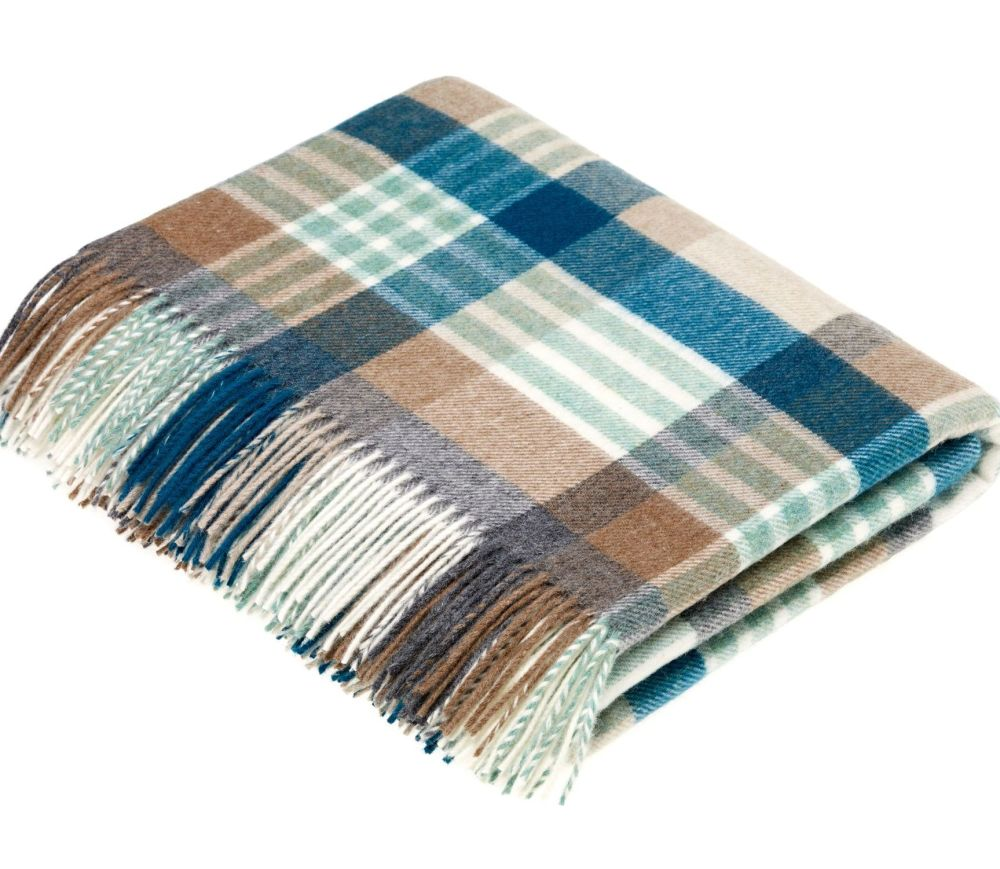 BRONTE by Moon Melbourne Eucalyptus Green Check Throw in Supersoft Merino L