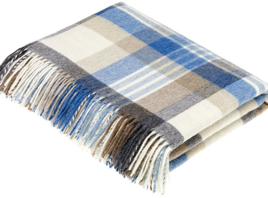 BRONTE by Moon Melbourne Camel & Aqua Check Throw in Supersoft Merino Lambs
