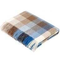 BRONTE by Moon Harlequin Camel & Aqua Blue Throw in supersoft Merino Lambswool