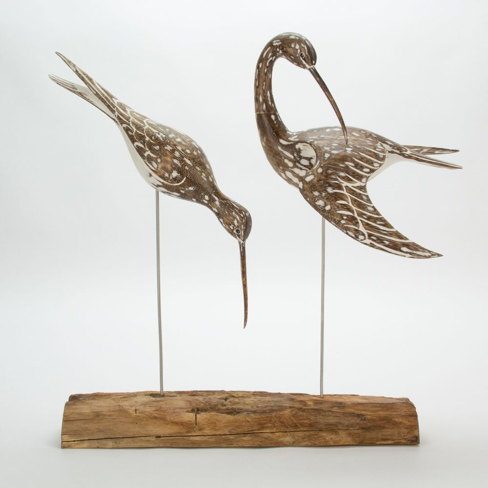 Archipelago 'Whimbrel Block' Two Whimbrel Birds Wood Carving