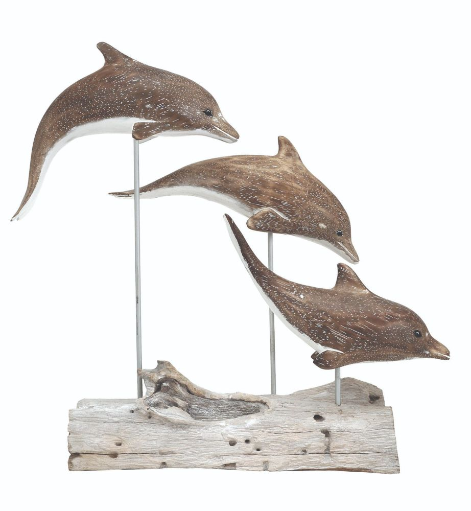 Archipelago 'Dolphin Block' Three Dolphins Wood Carving