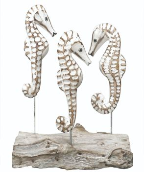 Archipelago Triple Sea Horse Block Three Sea Horses Wood Carving