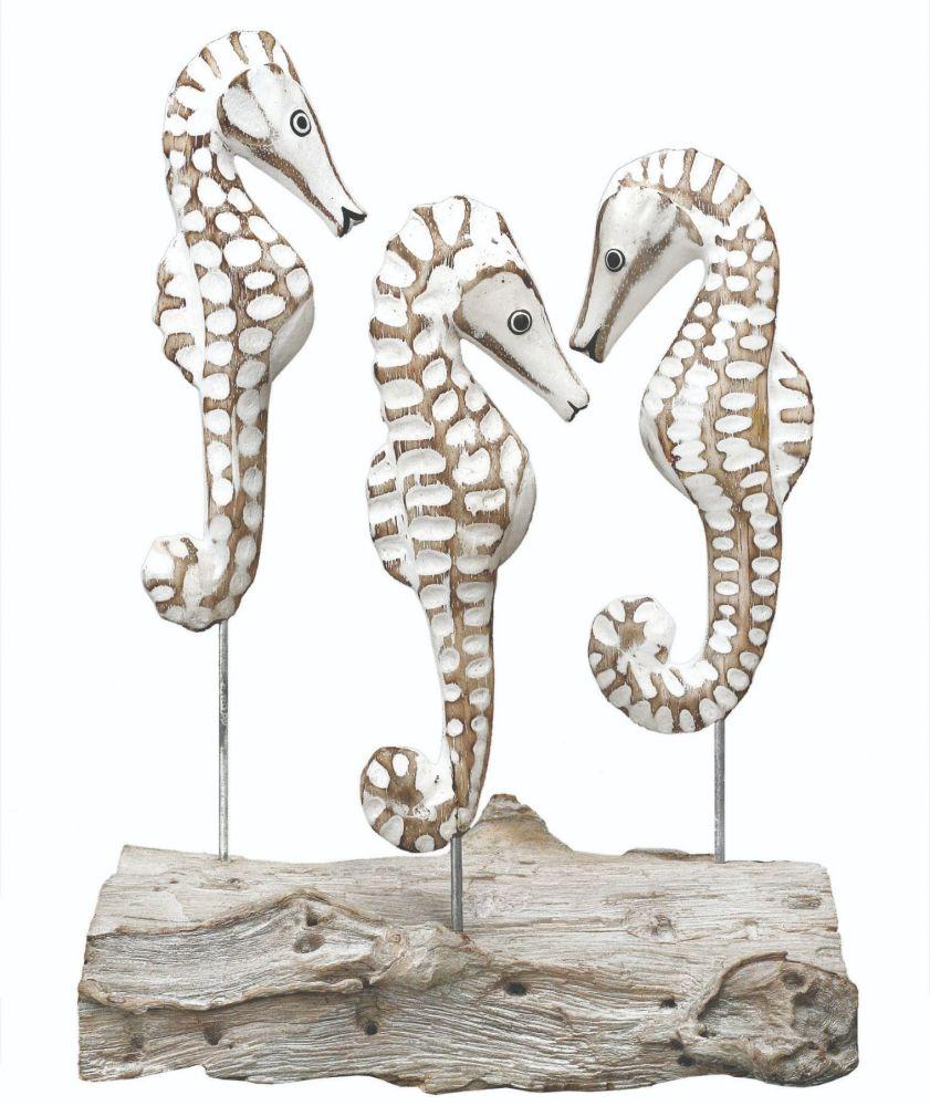Archipelago 'Triple Sea Horse' Block Three Sea Horses Wood Carving